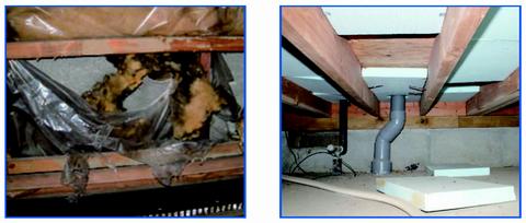 劣化した床下の断熱材